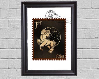 Aries Zodiac - stamps
