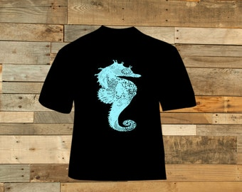 Teal Graphic Seahorse Tee