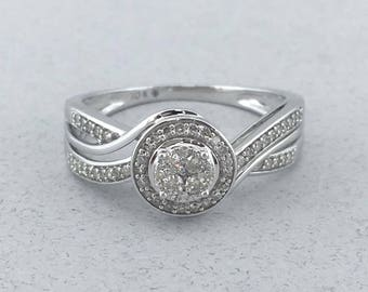 Gorgeous Solid 10k White Gold and 0.35 TCW Diamond Ring! Size 7.5!