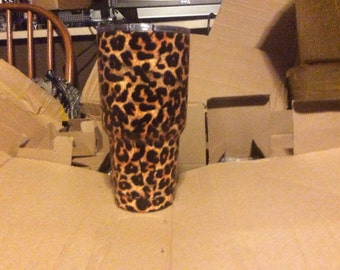 Handmade hydrodiped leapoard print yeti tumbler 30oz