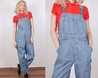 90s Overalls Vintage // Denim Overall Pants Striped Blue Jean Womens - Large