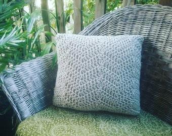 Handmade chunky crochet square cushion  (natural,beige)