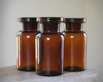 Vintage Small Brown Glass Jar