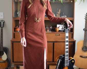 1960s Handmade Longsleeve Colorado Clay Suede Dress