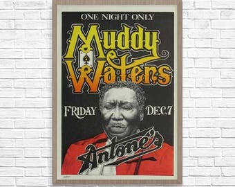 Concert Poster, Muddy Waters Poster, Blues Music, Music Poster, Music Print, Guitar Poster, Muddy Waters Print, Jazz Poster