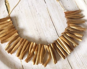 Bib necklace - Gold bib necklace - Gold bib - Gold necklace - Gold - Beaded necklace - Wooden necklace - Statement necklace - Gift idea