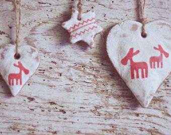 Rustic Christmas Salt Dough Ornaments - Salt Dough Hanging Ornaments -  Home Christmas Decoration -  Christmas Tree Decor