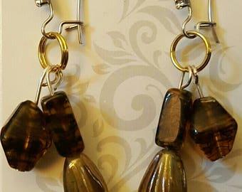 Beaded Chandelier Earrings Yellow/gold dangles
