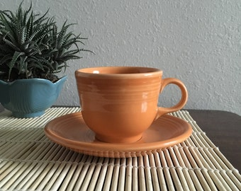 Fiesta Fiestaware Homer Laughlin Company Modern Coffee Tea Cup /Saucer  - Tangerine Orange