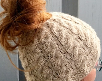 KNIT PATTERN: The Charlotte Cable Bun Beanie