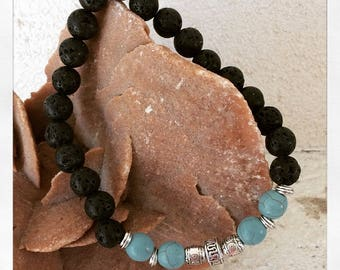 man stones of lavas, turquoise beads and metal beads bracelet