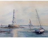 Aquarelle originale, peinture d'un paysage de bord de mer, soleil couchant, phare de Cordouan