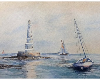 Original watercolor painting, seascape, cordouan lighthouse and boat at sunset.