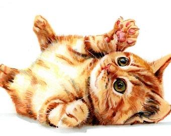 Custom Pet Portrait. CAT FULL BODY by professional artist Tim Olden. Animal painting & Animal Illustration.