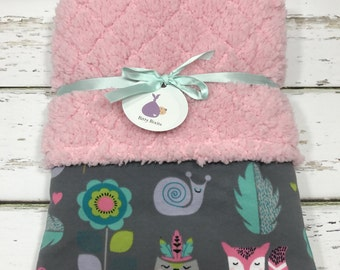 Girls Lovey blanket Security blanket Baby girl blanket Baby shower gift Girls shower gift woodland baby shower knit blanket woodland baby