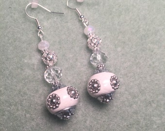 White, silver  and crystal beaded dangle earrings