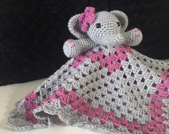 Crochet elephant lovey/security blanket