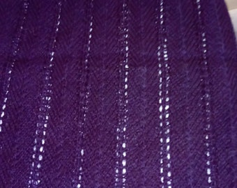 A Hand Knitted, Aubergine Colour Winter Shawl For Women.