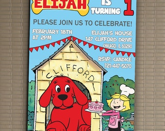 Clifford The Big Red Dog Invitation, You Print Invitation, Clifford Birthday, Clifford Birthday Party Invitation, Clifford The Big Red Dog