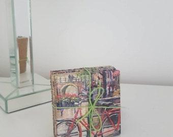 Unique Handmade Bicycle In Amsterdam Design Ceramic Tile Coaster