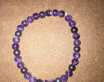 Amethyst and Hemetite bracelet for reducing anxiety