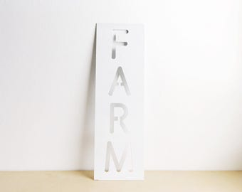Farm Metal Sign - Farm Sign - Metal Sign - Metal Wall Art - Metal Home Decor - White Farm Sign