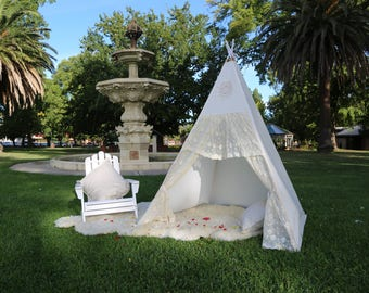Girls Boho TeePee - Cream - Lace - Play Tent - Kids Teepee - Teepee Tent - Playhouse - FREE SHIPPING - Ready To Ship