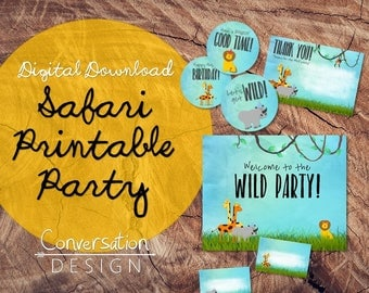 Safari, Printable Party, Digital Download, Birthday, Animals, Jungle, Wild