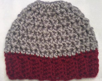 Messy Bun Hat - Scarlet & Grey Hat - Crochet Hat - Winter Hat - Ohio State - Buckeyes