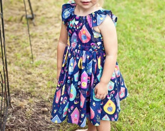 Toddler girls peasant dress with clock print