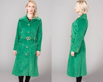 Vintage 60s 70s Long Trench Coat Green Corduroy Jacket Mod Outerwear 1960s 1970s Medium M Large L Small XS