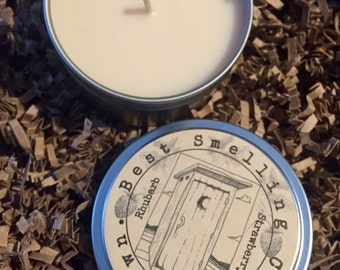 Strawberry Rhubarb Outhouse Candle, 6 oz tin