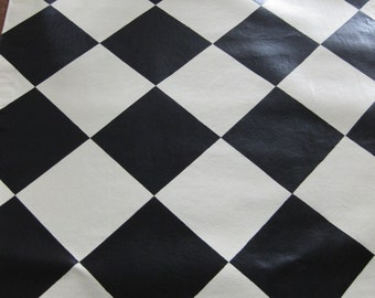 Hand-Painted B&W Harlequin Floorcloth - Choose your size