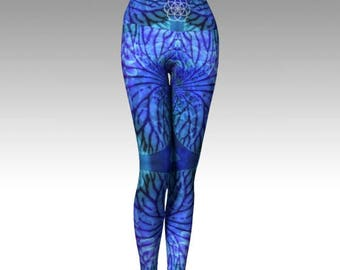 Cosmic Mermaid Yoga Pants - Womens Eco Sustainable Floral Nature Blue Water Athletic Leggings Bohemian Patterned Fractal Festival Printed