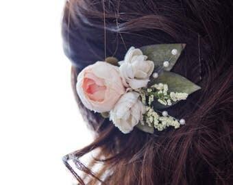 Wedding hair flower, hair flower, peach, wedding hair clip, floral hair clip, flower hair clip