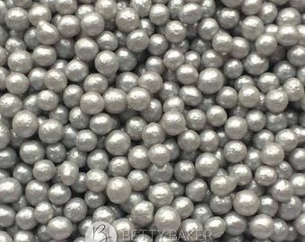 Silver Edible Glimmer Pearls  - Shimmering Edible Pearls - Edible Cake Sugar Sprinkles, Cupcake Decorations, Cake Decor