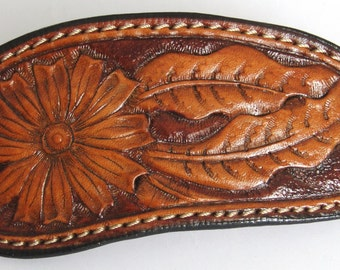 Hand Tooled Leather Hair Barrette, Leather ponytail holder, leather hair clip, hair accessories, Leather Hair Clips, Barrette out of leather