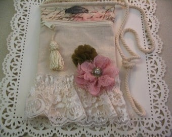 Embellished Altered Canvas Handbag Zipper Pouch Accessory Evening Wedding Bag Shabby Chic Collection