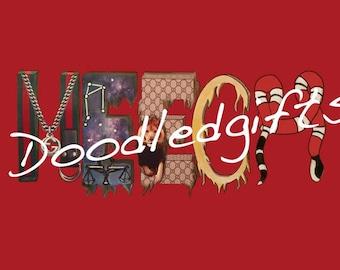 Gucci Themed Name Art - MEECH