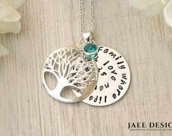 Birthstone Family Tree Necklace - Mom Necklace name gift - Gift for her Swarovski Crystal - Necklace Family Gift - Christmas in July