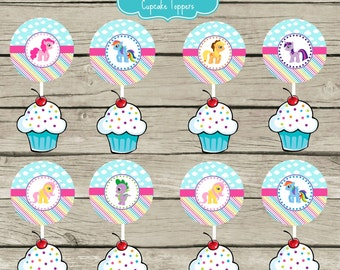 My Little Pony Birthday Party Cupcake Toppers Aqua Pink Rainbows Clouds Magical Instant Download