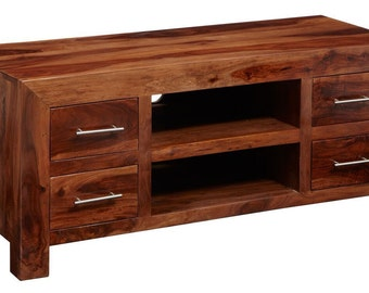 Cube plasma 4 drawer media unit - Honey stain finish - Handmadesolid hardwood