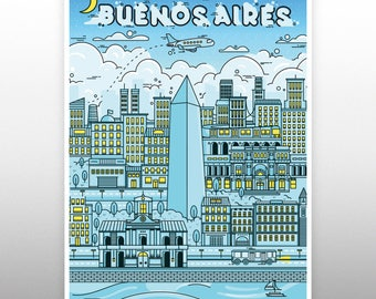 buenos aires City poster prints llustration  Map Art Print  canvas