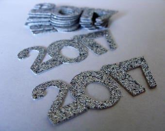 2017 Confetti-Number Confetti, Wedding confetti,silver bridal table decor,2017 baby shower decor,graduation confetti,silver glitter confetti