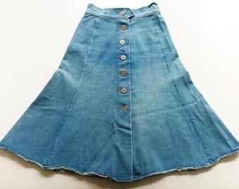 70s DeNim high WaiSt skirt XS S VinTage CoaCheLla jeans rock 70s hippie 158 ReTro