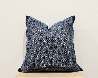 Authentic Hmong Batik vintage boho tribal indigo navy blue pillow cover 21x21