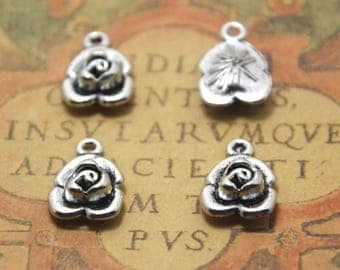15PCS Rose Charm Silver tone Rose Flower Pendants,Charms, Country Style,17x17mm ASD0812