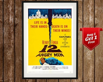 12 Angry Men - Classic Movies Poster,  Vintage Movie Poster,  Movie, Film,  Old Cinema,  Replica Movie Posters, Old Movie Prints,