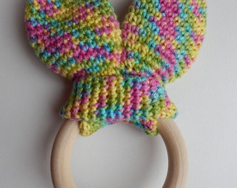 Teether with rabbit ears