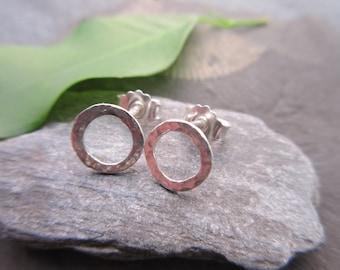 Earrings silver 8 mm ring silver earrings